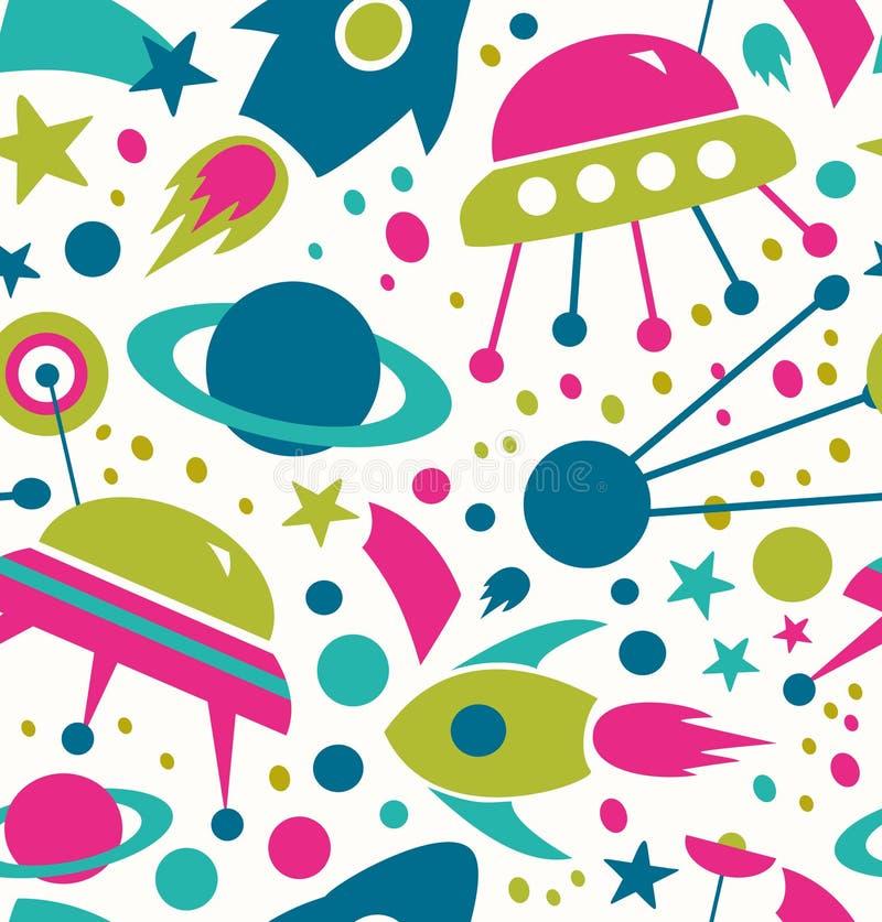 De naadloze Decoratieve ruimteachtergrond van het contrast kosmische patroon met raketten, spaceships, kometen vector illustratie