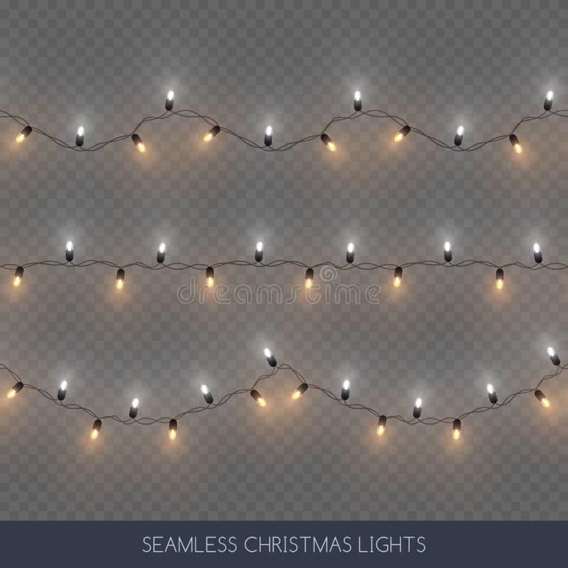 De naadloze decoratieve strook en het goud kleuren geplaatste gloeilampenslingers, Kerstmisdecoratie, vectorillustratie royalty-vrije illustratie