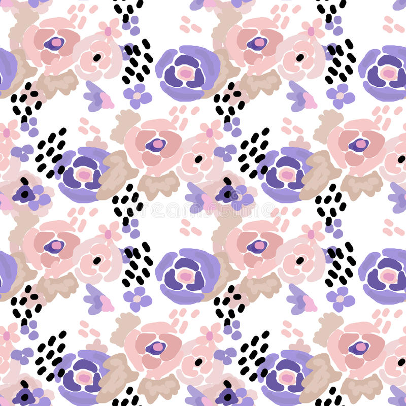 De naadloze digitale borstelslag bloeit patroon stock illustratie