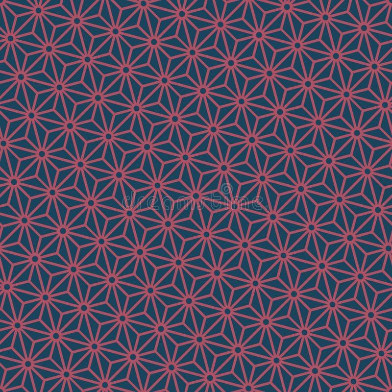 De naadloze donkerblauwe en vector van het asanohapatroon van Bourgondië diagonale Japanse vector illustratie