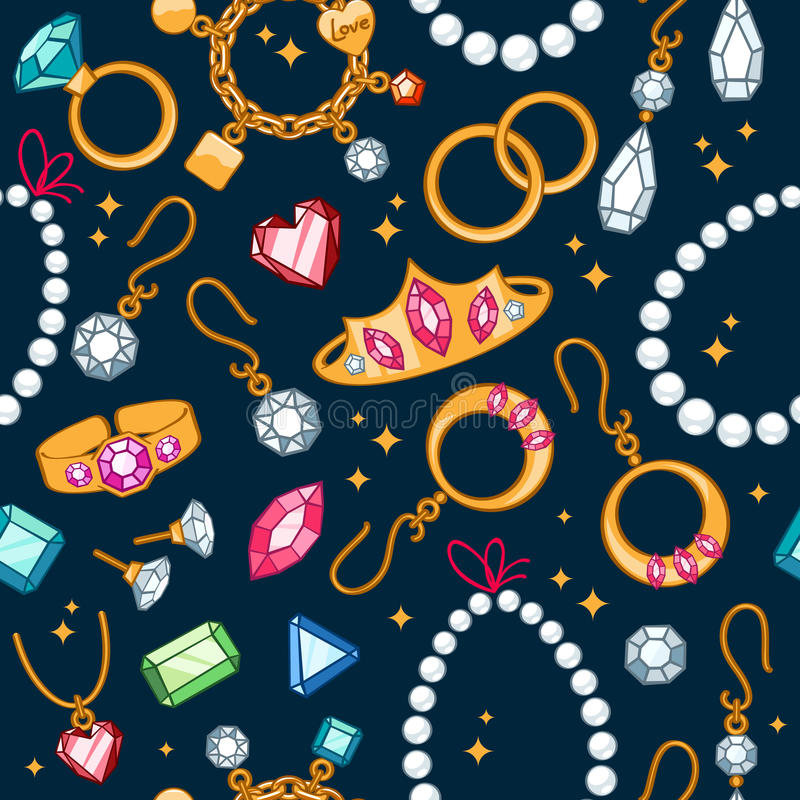 De naadloze donkere achtergrond van juwelenpunten stock illustratie