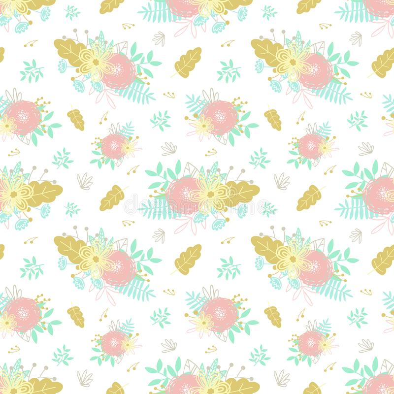 De naadloze elementen, de boeketten, de bloemen en de bladeren van het beeldverhaalpatroon hand-drawn bloemen Illustratie voor de vector illustratie