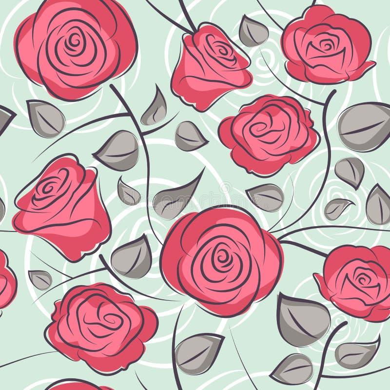 De naadloze geïsoleerde vector van het rozenpatroon achtergrond vector illustratie