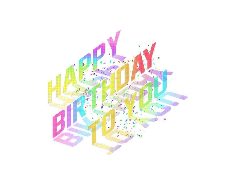 De naadloze Gelukkige Verjaardag viert Illustratie met Confettien royalty-vrije illustratie