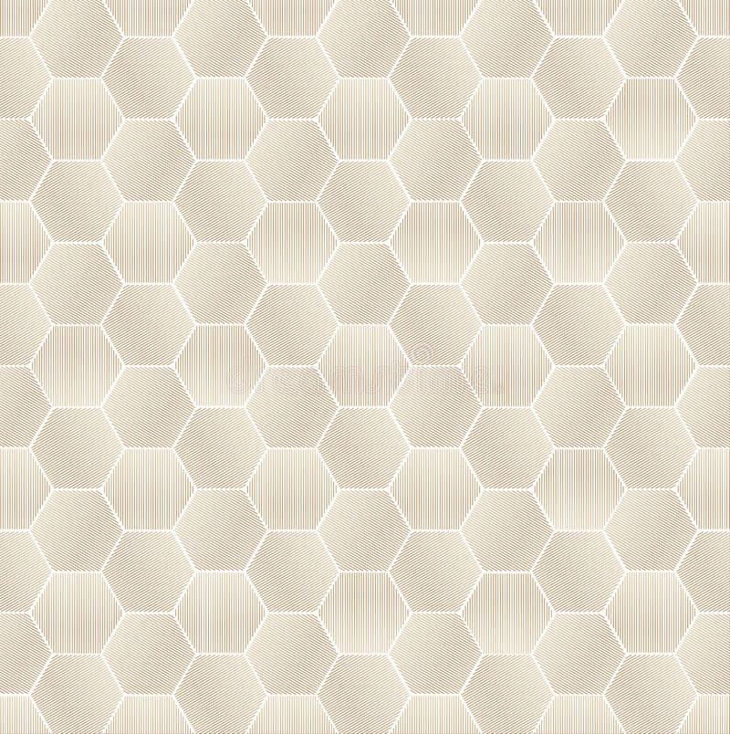 De naadloze Geometrische Bruine Gestreepte Achtergrond van het Zeshoekenpatroon royalty-vrije illustratie