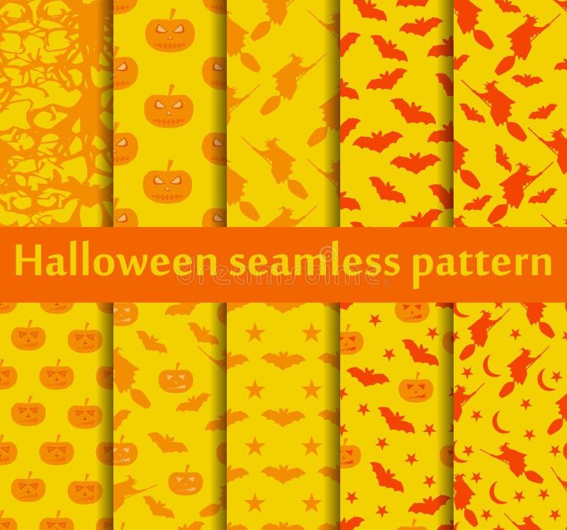 De naadloze geplaatste patronen van Halloween Patroon met Lamp Jack, Knuppels en heks Halloween ssimbols Vector stock illustratie