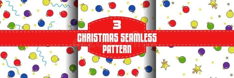 De naadloze geplaatste patronen van de Kerstmisbal, vlakke overzichtsstijl stock illustratie