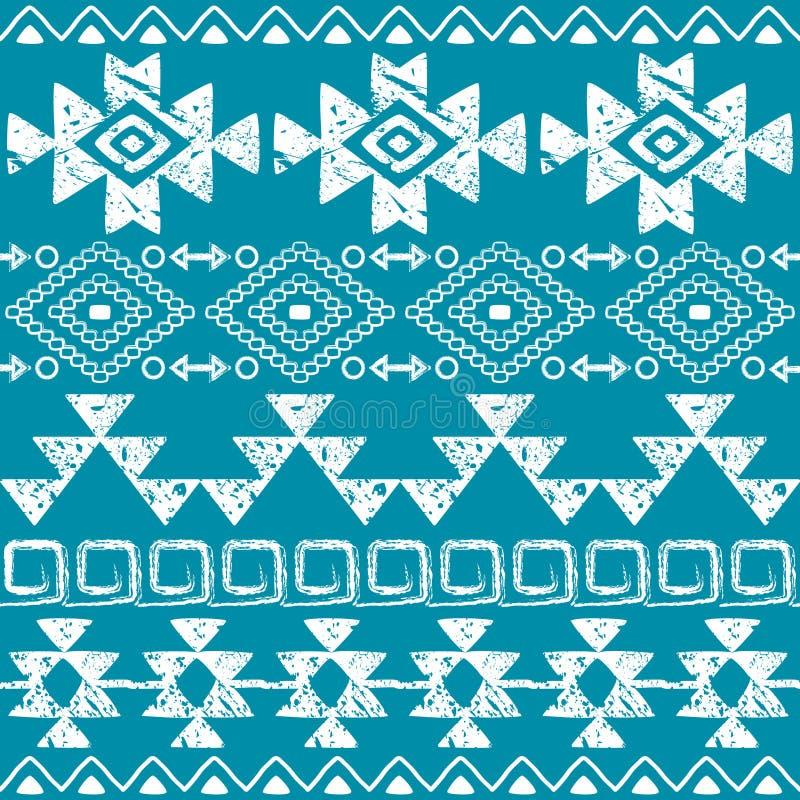 De naadloze getrokken druk van Navajo hand, retro Azteeks patroon, Stammenontwerp met krassen vector illustratie