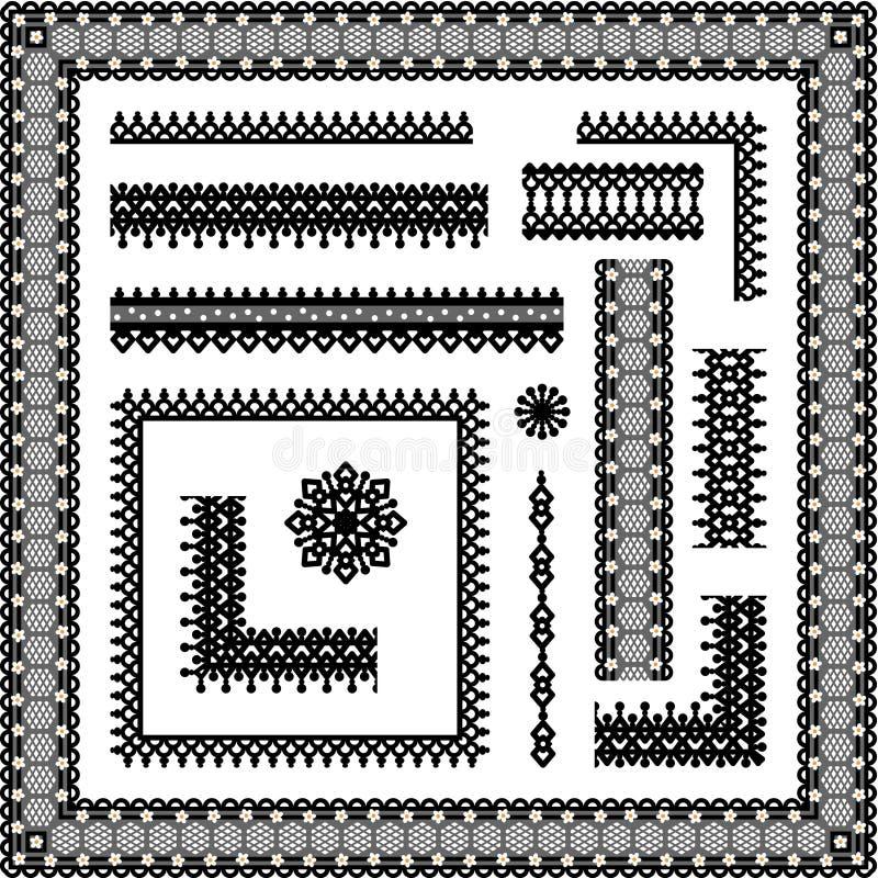 De naadloze grenzen van het kant, hoeken, frames, vignetten stock illustratie