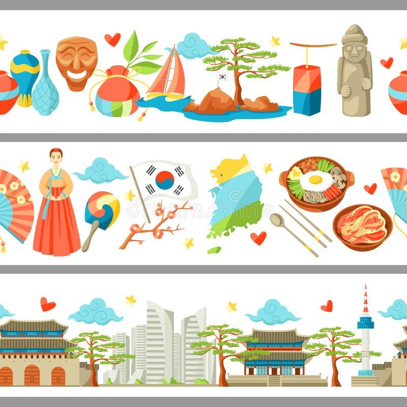 De naadloze grenzen van Zuid-Korea Koreaanse traditionele symbolen en voorwerpen vector illustratie