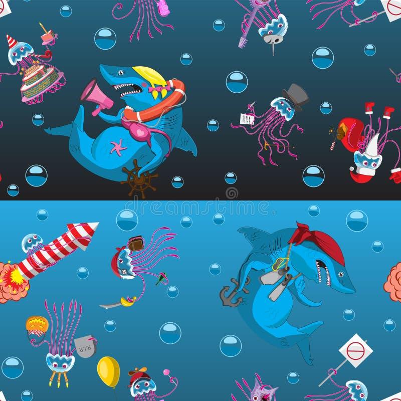 De naadloze haai van de emotiebellen van de achtergrondkarakterkwal op een zwarte blauwe achtergrond Jonge geitjes die textielban vector illustratie
