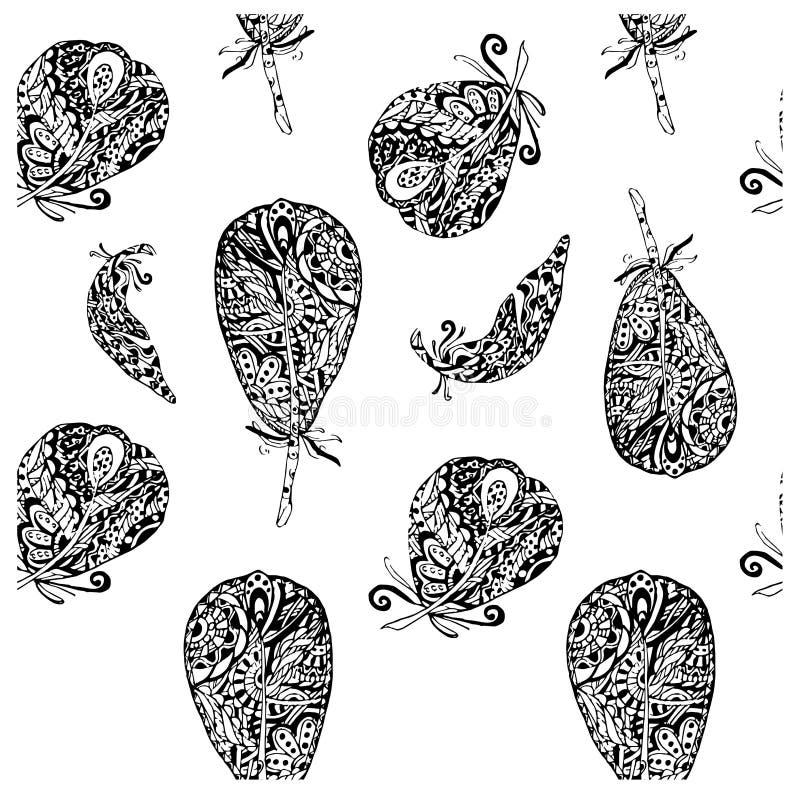 De naadloze hand getrokken patroon vector zwart-wit veren schetsen, van het ontwerpelementen van de krabbelstijl de voorraad vect vector illustratie