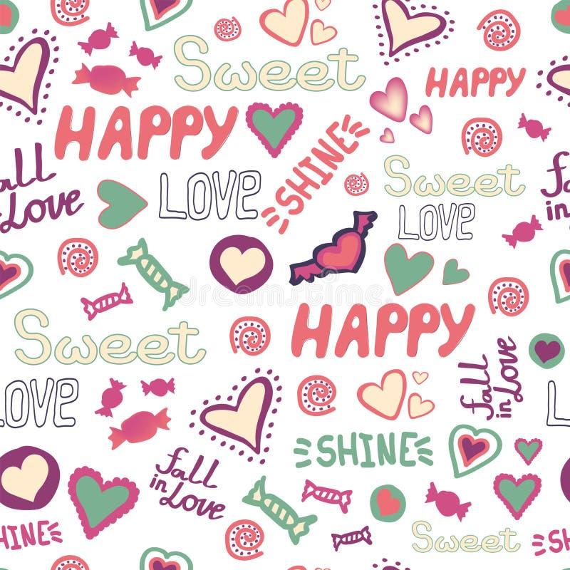 De naadloze harten van de patroonkrabbel houden van gelukkige zoete woorden herhalen Beschikbare vector vector illustratie