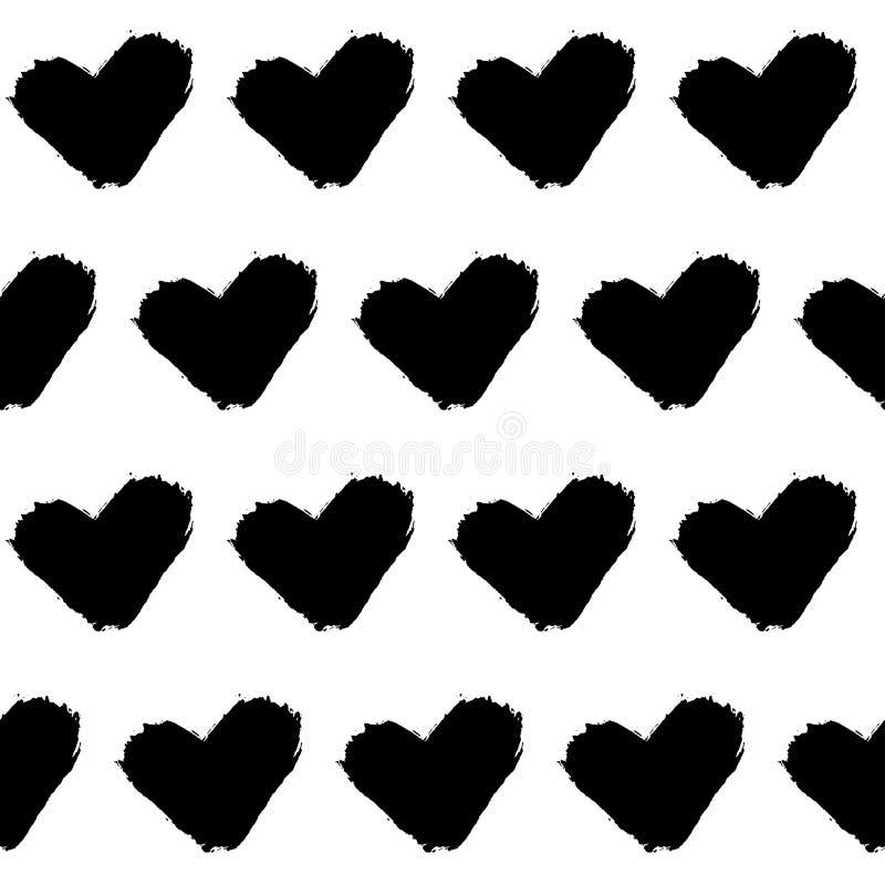 De naadloze harten van het krabbelpatroon grunge stock illustratie