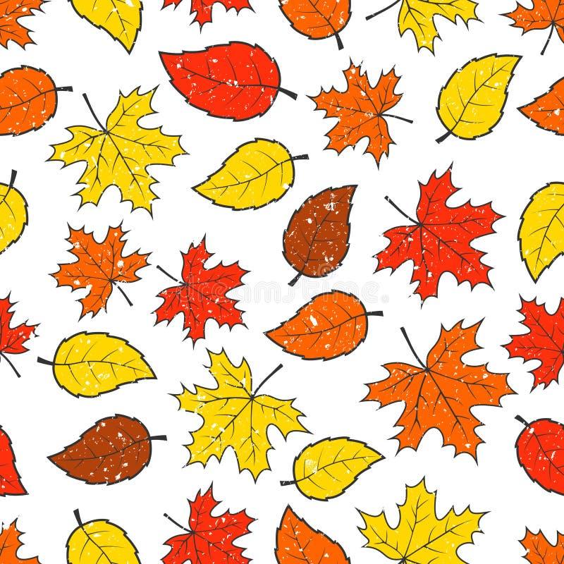 De naadloze herfst verlaat patroon stock illustratie