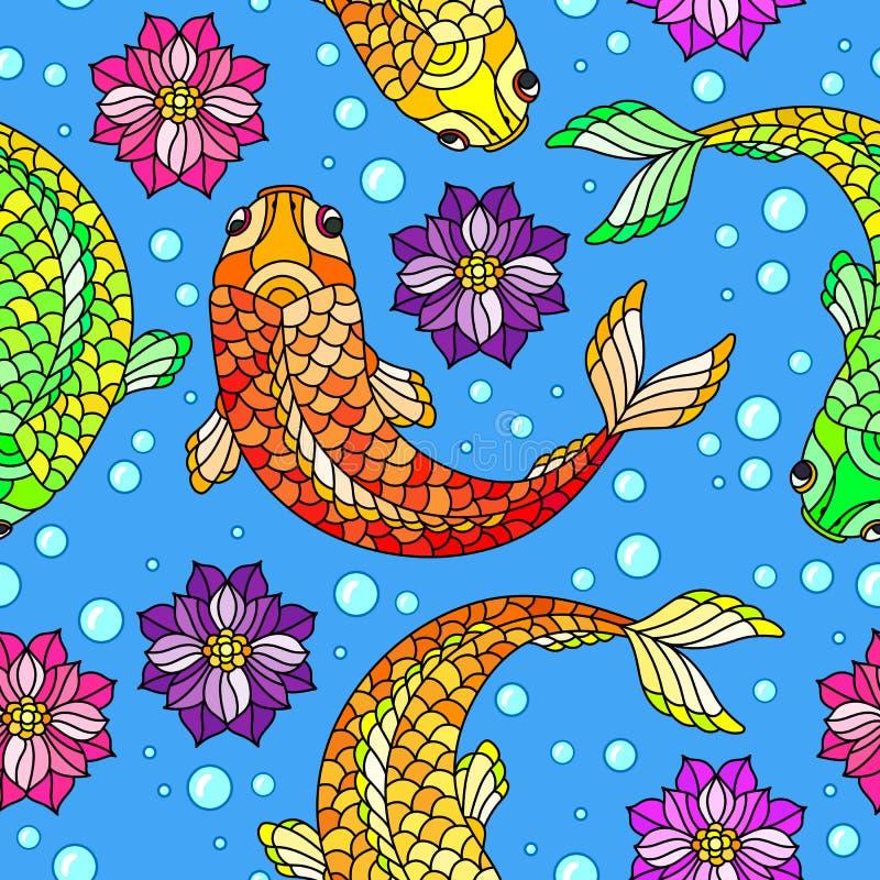 De naadloze illustratie met kleurrijke vissen, Lotus bloeit en bellen op blauwe achtergrond royalty-vrije illustratie