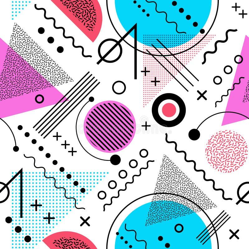 De naadloze jaren '80 inspireerden grafisch patroon De stijl van Memphis royalty-vrije illustratie
