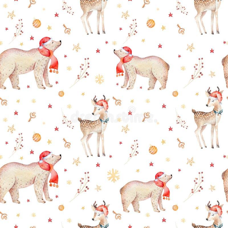 De naadloze Kerstmisbaby draagt naadloos patroon De hand getrokken winter backgraund met beer, sneeuwvlokken Kinderdagverblijfdie stock illustratie