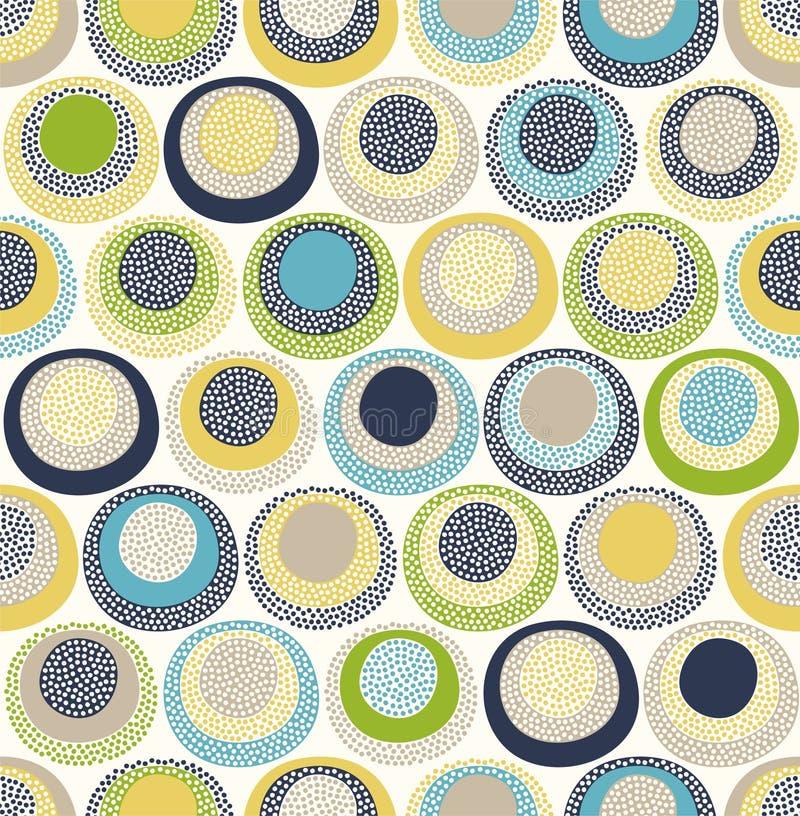 De naadloze kinderachtige abstracte kleurrijke ronde cirkel stippelt patroon op witte achtergrond stock illustratie