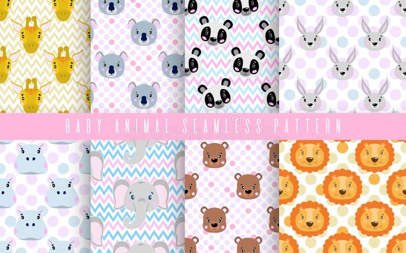 De naadloze kleur van de patroon vastgestelde leuke dierlijke baby Gelukkige inzameling voor druk textielstof De gezichtsleeuw, p vector illustratie