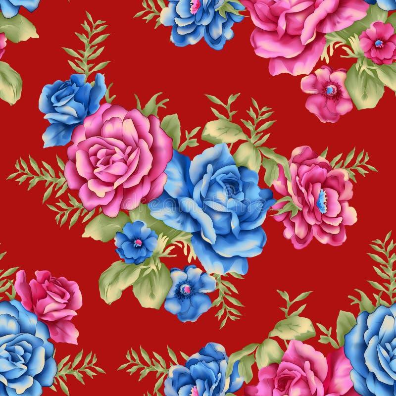 De naadloze kleurrijke digitale rode achtergrond van het bloempatroon stock illustratie