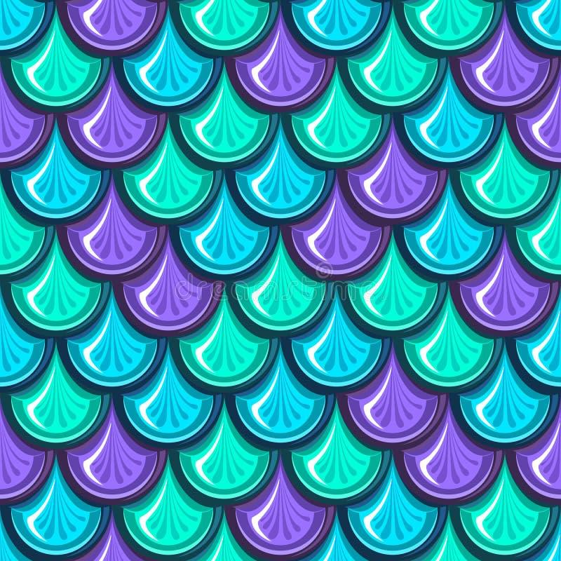 De naadloze kleurrijke schalen van riviervissen vector illustratie