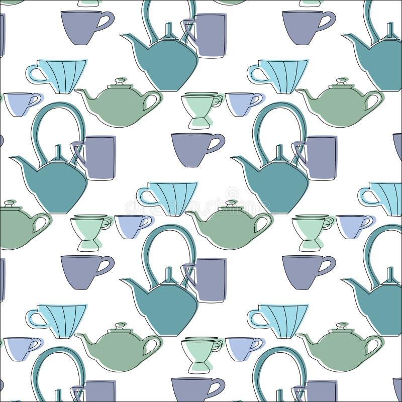 De naadloze kop van de patroonthee De blauwe en groene naadloze kop van de patroonthee in uitstekende stijl stock illustratie