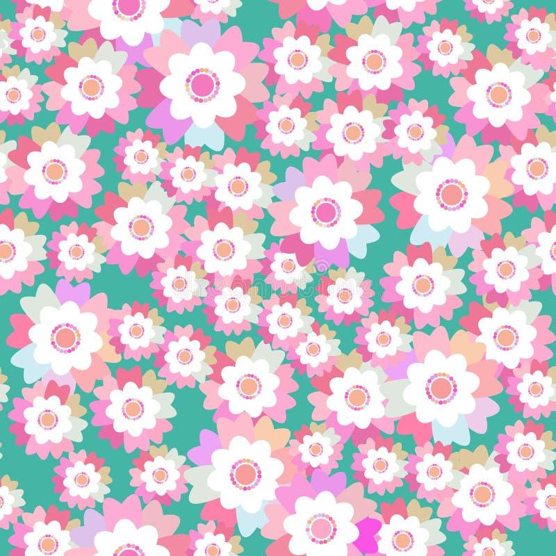 De naadloze korenbloem van de lente roze purpere bloemen van de patroon heldere zomer, viooltje, viooltje op blauwe achtergrond V stock illustratie