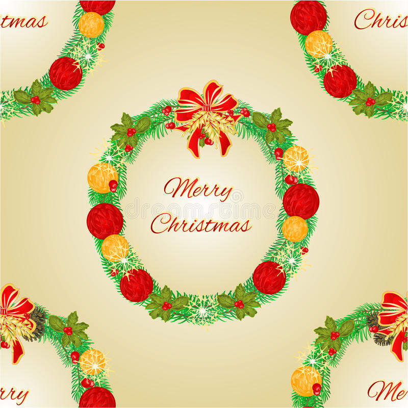 De naadloze Kroon van textuur Vrolijke Kerstmis met de vector van Kerstmissnuisterijen vector illustratie