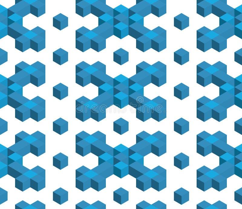 De naadloze kunst van de patroon vectorkubus, abstracte illustratie stock illustratie