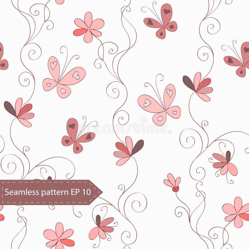 De naadloze l-bloemachtergrond met uitstekende hand trekt bloemen, krullen en vlinders stock illustratie