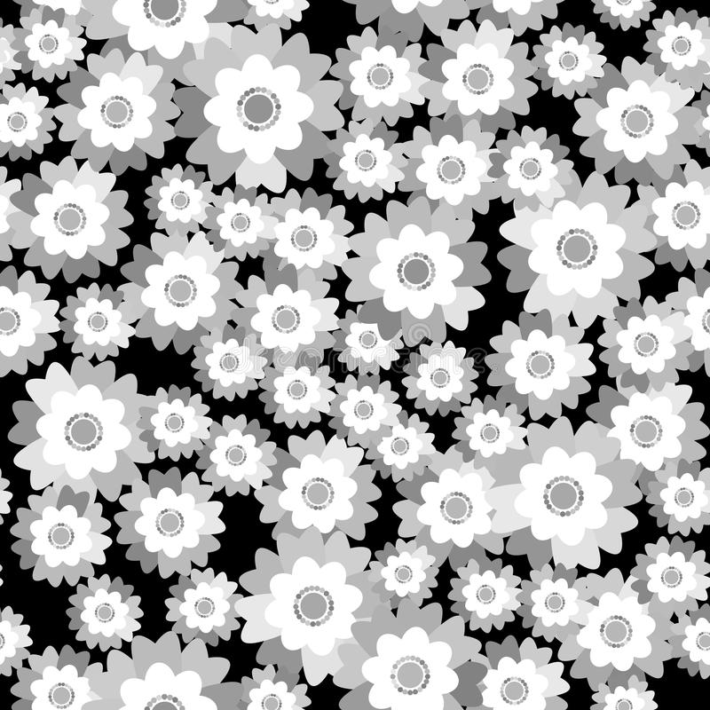 De naadloze lente van de patroonzomer bloeit korenbloem, viooltje op zwarte achtergrond De textieldruk, Web-pagina vult Vector royalty-vrije illustratie