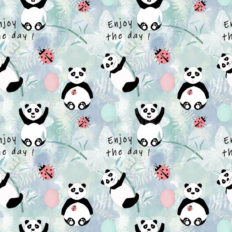 De naadloze leuke Panda draagt met bamboe op lichte achtergrond royalty-vrije illustratie