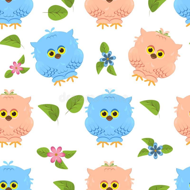 De naadloze leuke uilen van het patroon hand-drawn beeldverhaal Jongen en meisje met stock illustratie