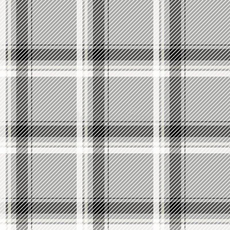De naadloze lichte stof van het geruit Schots wollen stofpatroon Zwart-witte cellen op een grijze achtergrond vector illustratie