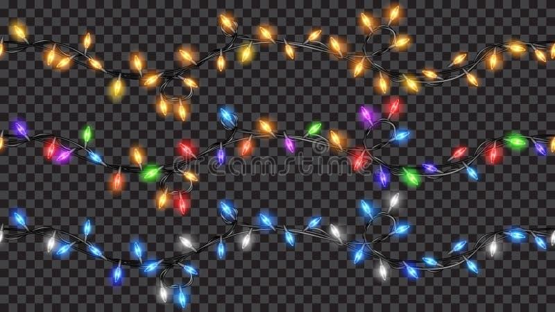 De naadloze lichten van de Kerstmis doorzichtige fee royalty-vrije illustratie
