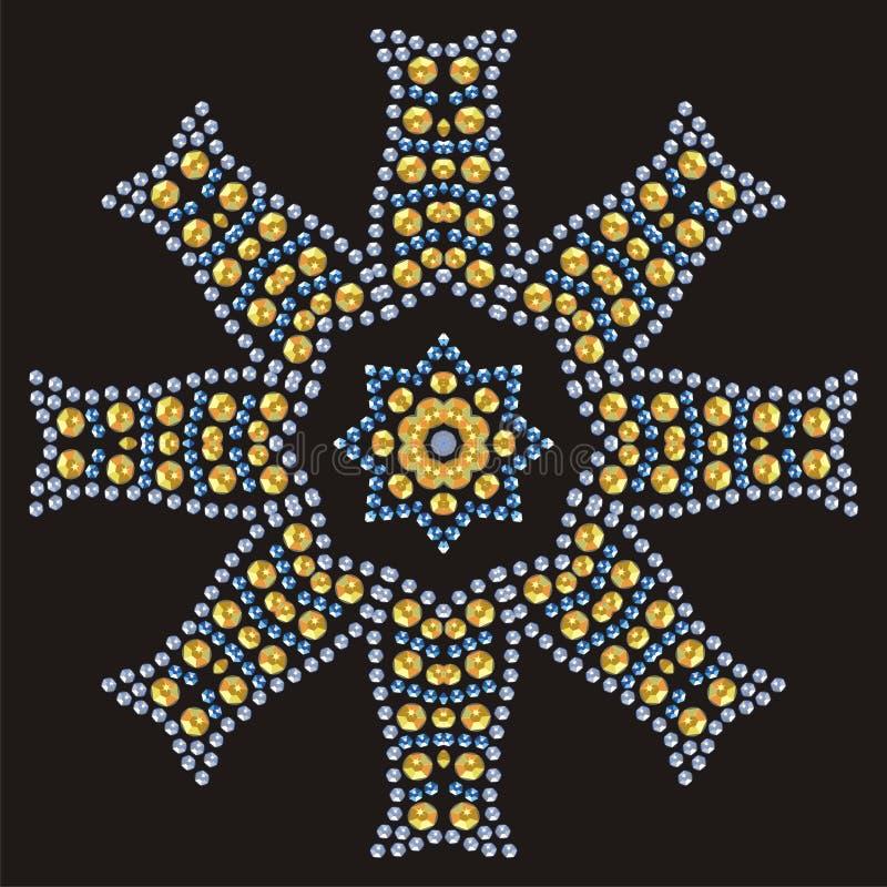 De naadloze manierdruk van de bloem de gouden, briljante en saffier glanst stock illustratie