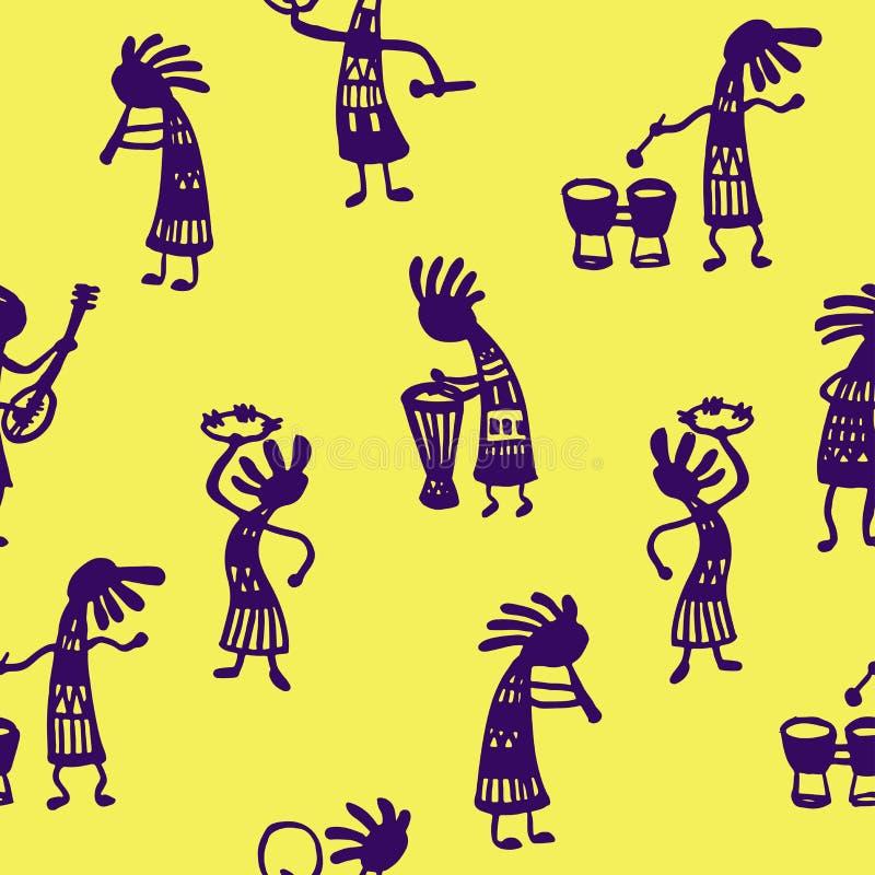De naadloze musici van patroon Afrikaanse mensen met hulpmiddelen op een gele achtergrond schetsen Krabbel Vectorillustratie royalty-vrije illustratie