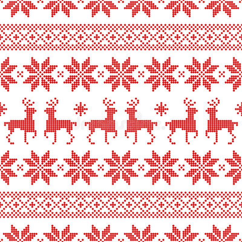 De naadloze Noorse Stijl Dots Red And White van Patroonkerstmis royalty-vrije illustratie