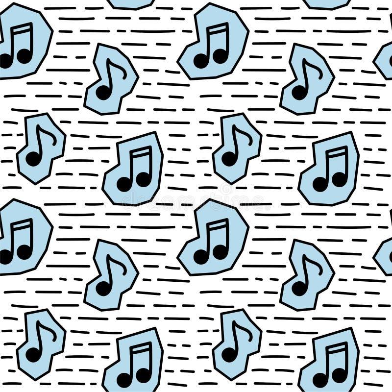 De naadloze nota van de patroonmuziek in krabbelstijl stock illustratie
