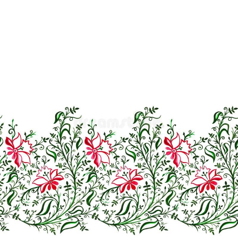 De naadloze openwork gevoelige bloemen en de bladeren van het patroonornament met krullen en wijnstokken groene violette neonzwar stock illustratie