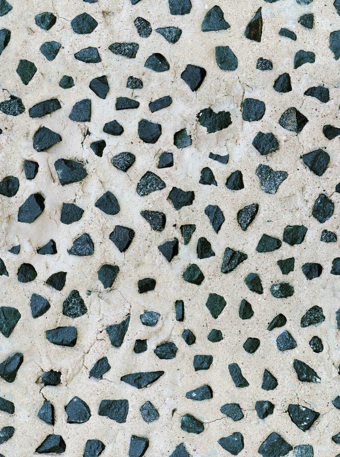 De naadloze oude textuur van de pleistermuur, stukkengraniet stock afbeeldingen