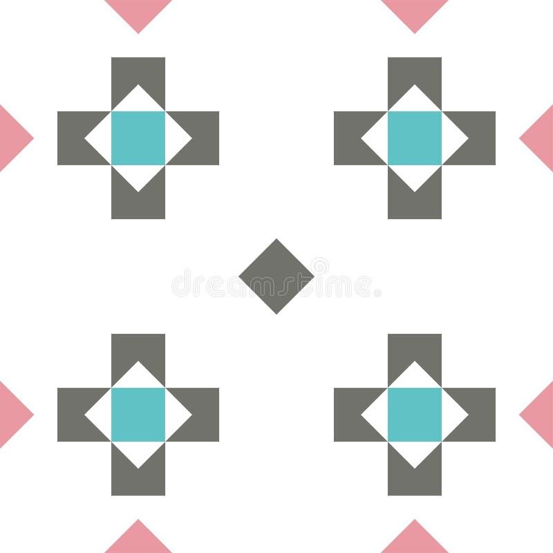 De naadloze pastelkleur kleurde geometrische patroon of achtergrond met kruisen en ruiten stock illustratie