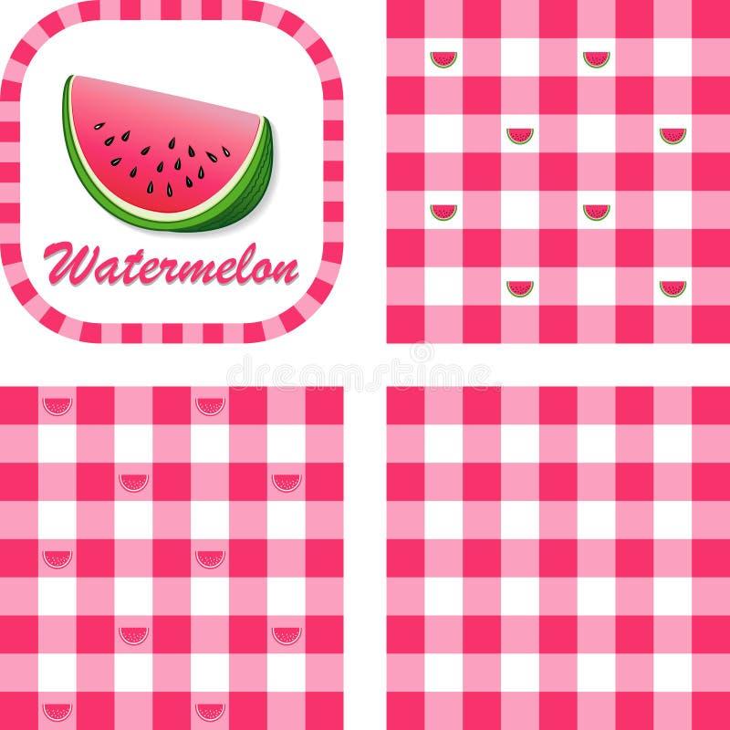 De Naadloze Patronen van de watermeloen & van de Gingang stock illustratie