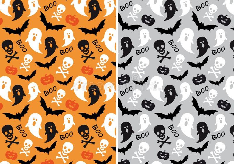 De naadloze patronen van Halloween, vector stock illustratie