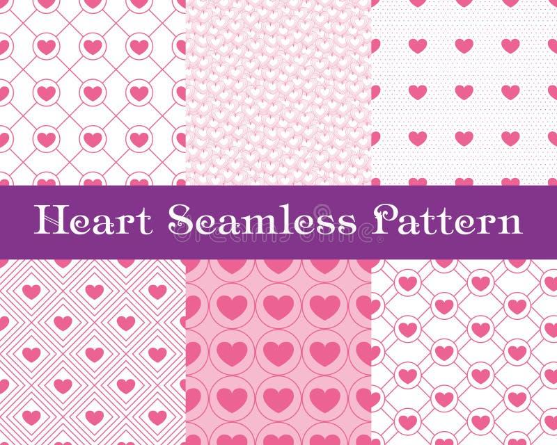 De naadloze patronen van het hart Roze kleur Eindeloze het betegelen textuur voor druk op stof en document of schroot het boeken  royalty-vrije illustratie