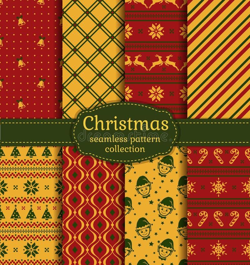 De naadloze patronen van Kerstmis Beeldverhaal polair met harten royalty-vrije illustratie