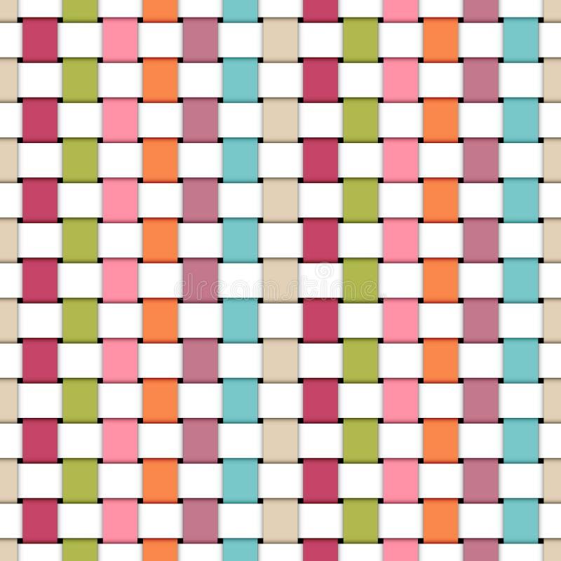 De naadloze Patroon Gevlechte Document Retro Kleuren en het Wit van de Strepenregenboog vector illustratie