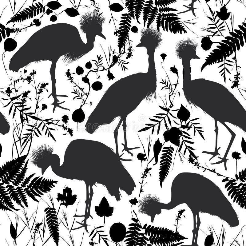 De naadloze patroon Grijze bekroonde kraan, de Zwarte bekroonde kraan met gras en het bloemen zwarte silhouet isoleerden op witte royalty-vrije illustratie