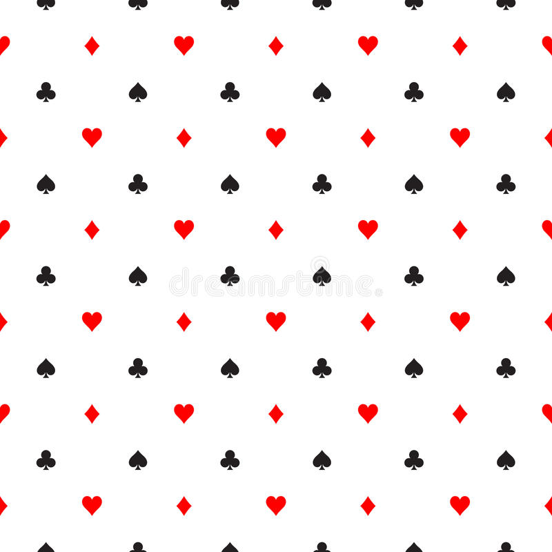 De naadloze patroonachtergrond van pookkostuums - harten, clubs, spades en diamanten - schikte in de rijen op wit stock illustratie